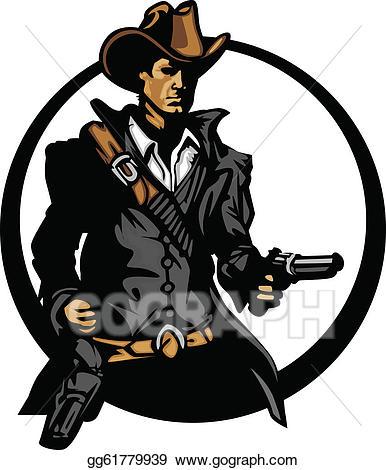 Vector art mascot silhouette. Cowboy clipart cowboy shooting