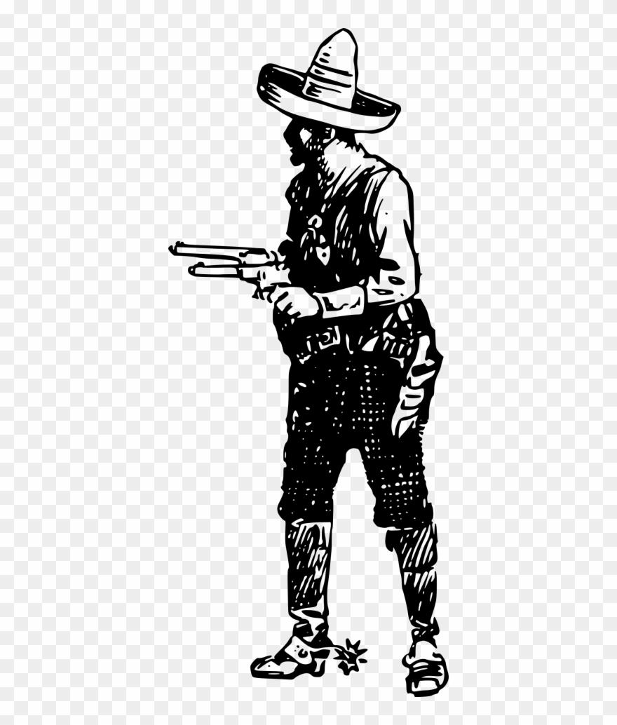 Vintage with guns . Cowboy clipart cowboy shooting