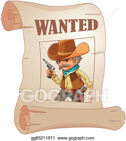 Cowboy clipart cowboy wanted. Vector illustration a paper