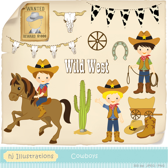 Cowboy clipart cowboy wanted. Hj illustrations wild west