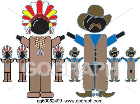 Cowboy clipart cowboys and indians. Clip art vector stock