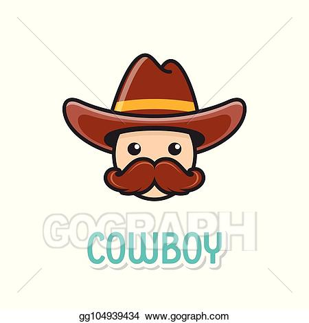 Vector illustration funny with. Cowboy clipart face