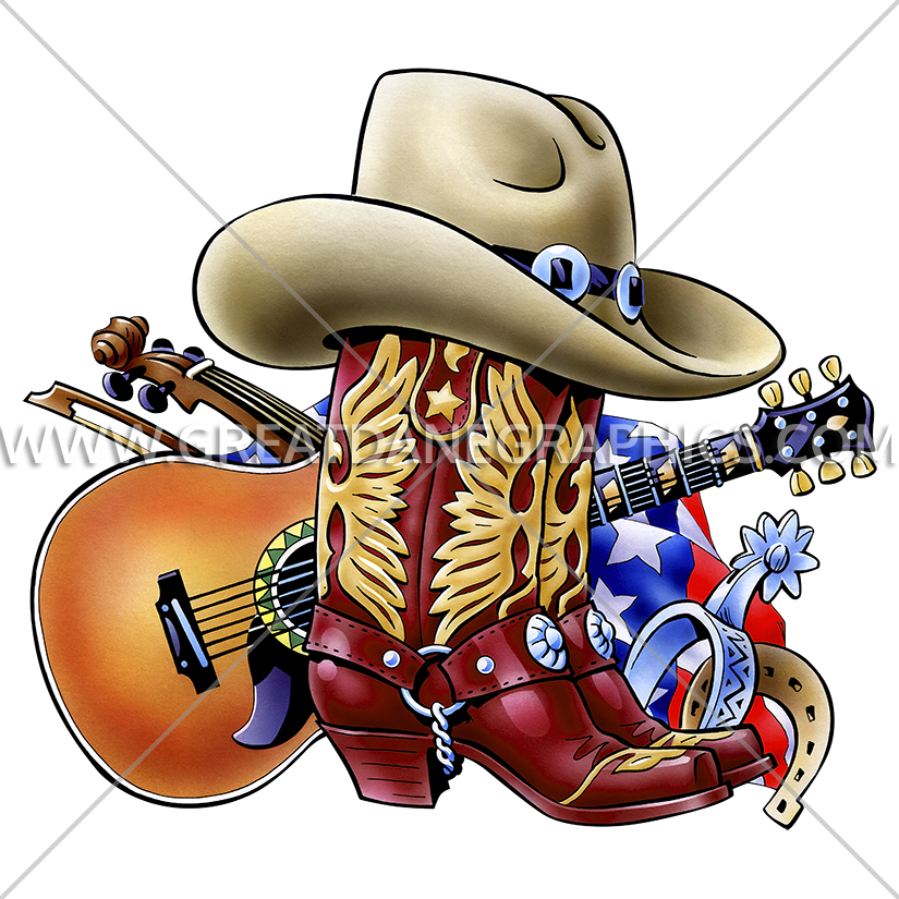 Professional clipart collage. Cowboy boot production ready