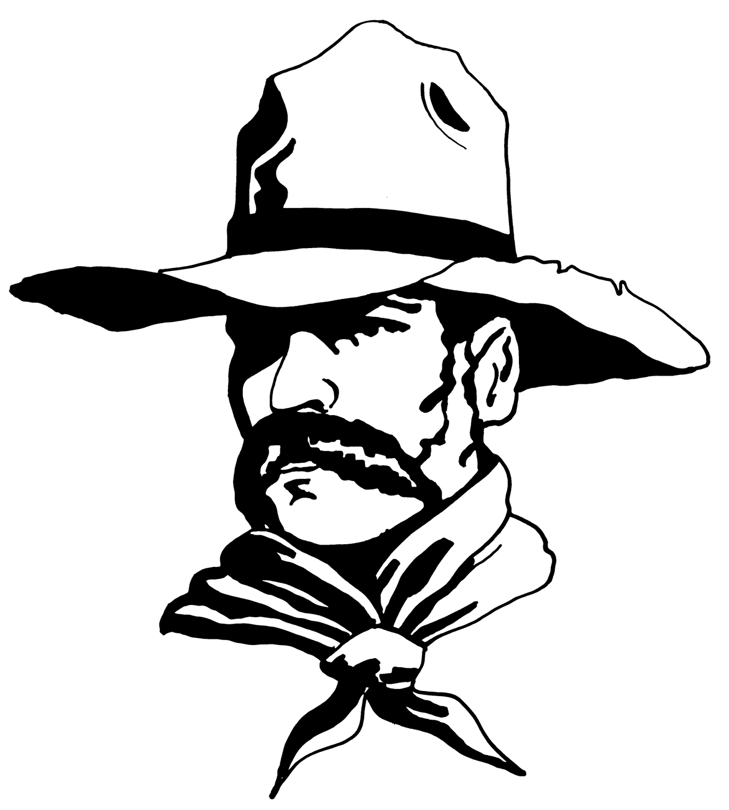 Free black and white. Cowboy clipart line