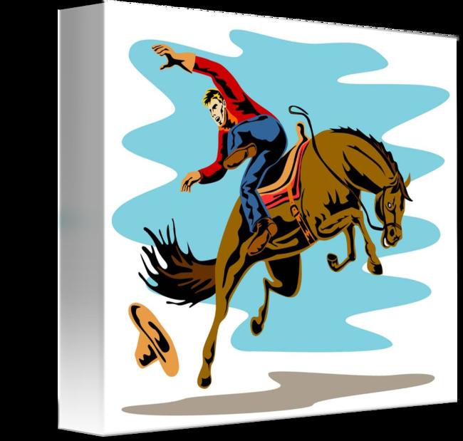 Riding bucking bronco horse. Cowboy clipart rodeo
