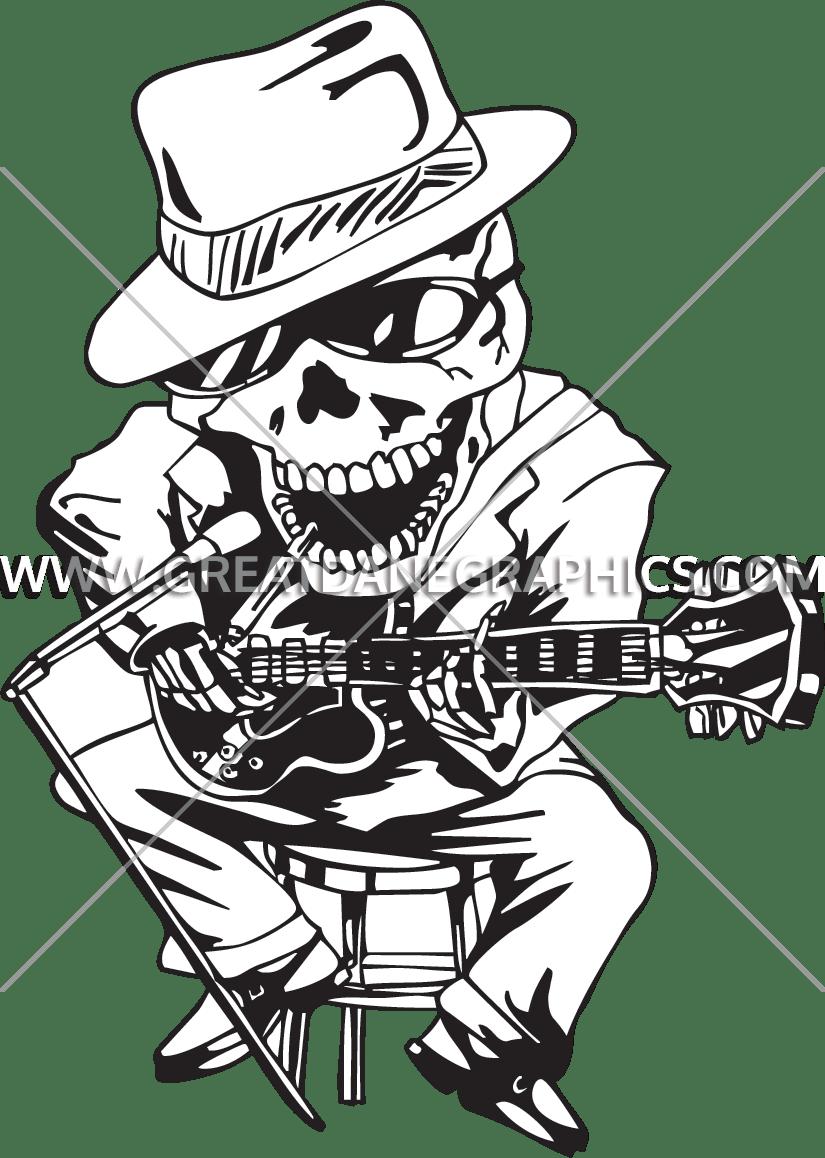 Blues production ready artwork. Heat clipart skeleton