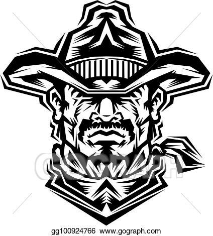 Vector stock mascot clip. Cowboy clipart tribal