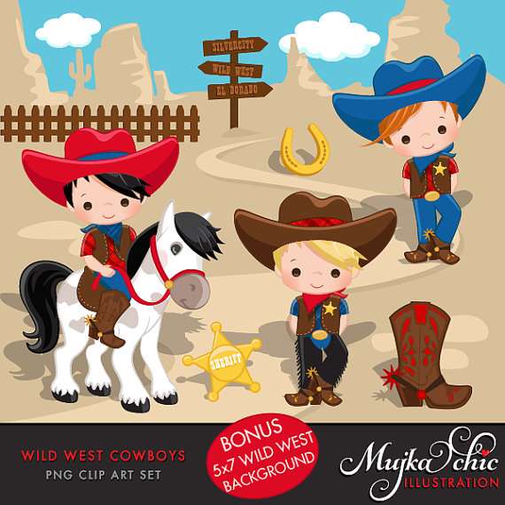 Wild west cute red. Cowboy clipart vaqueros