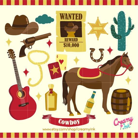 Digital vector clip art. Cowboy clipart western birthday