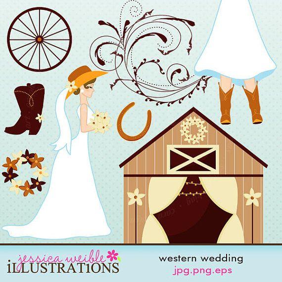 Cute digital commercial use. Cowboy clipart western wedding