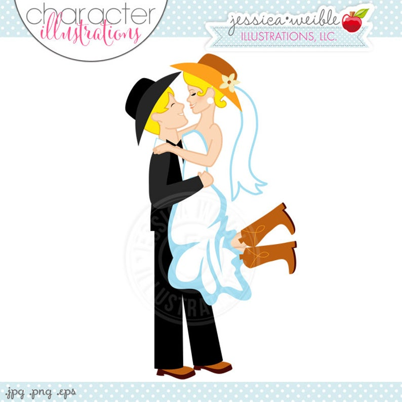 Cowboy clipart western wedding. Blonde bridal couple character