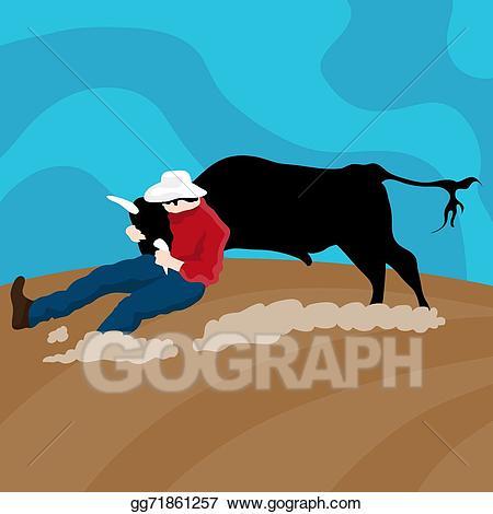 Vector art cattle drawing. Cowboy clipart wrangler cowboy