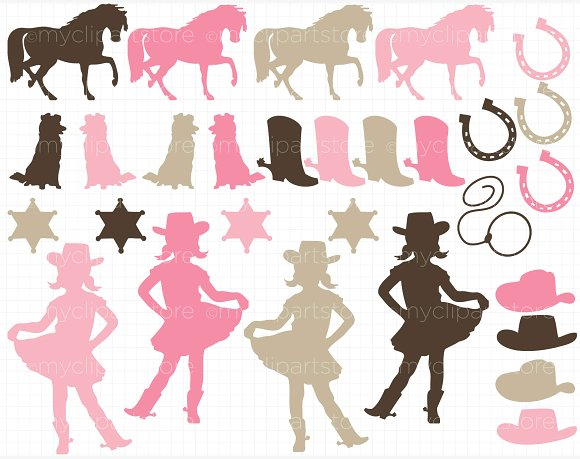 Little silhouettes illustrations creative. Cowgirl clipart