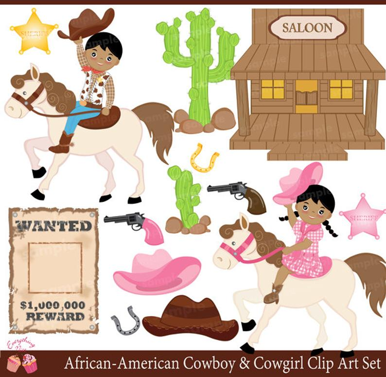 Cowboy and cow girl. Cowgirl clipart african american