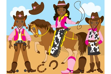Vector set illustrations . Cowgirl clipart african american