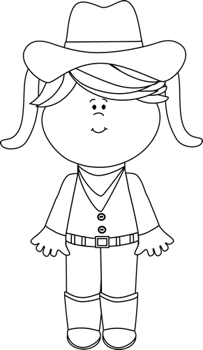With pigtails class ideas. Cowgirl clipart black and white