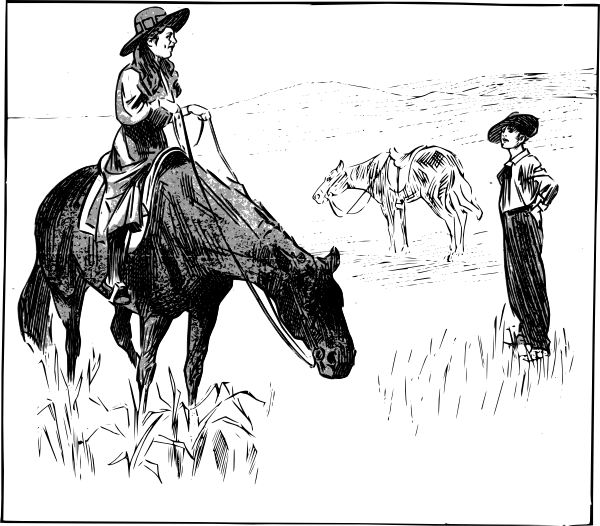 Cowgirl clipart black and white. Clip art at clker
