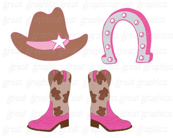 Cowgirl clipart brown cowboy boot. Clip art digital pink