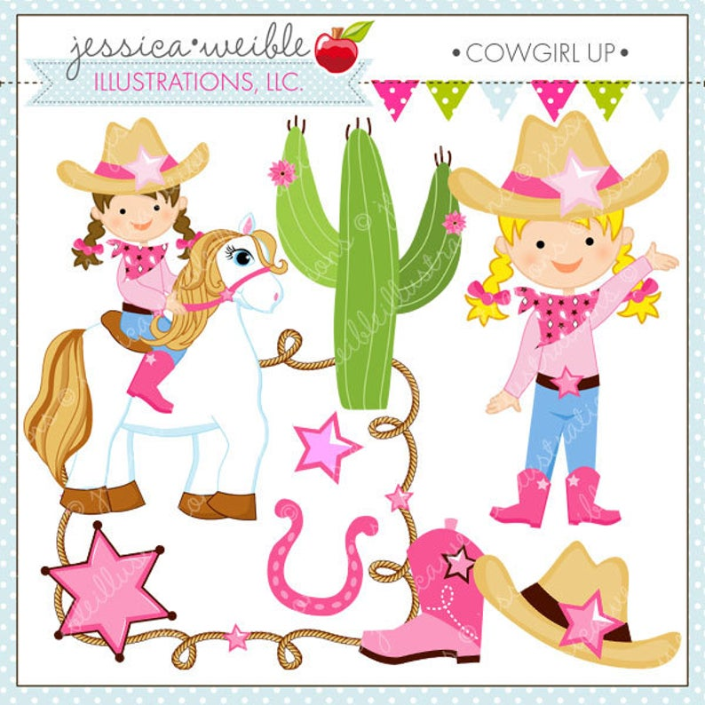 Up cute for commercial. Cowgirl clipart digital