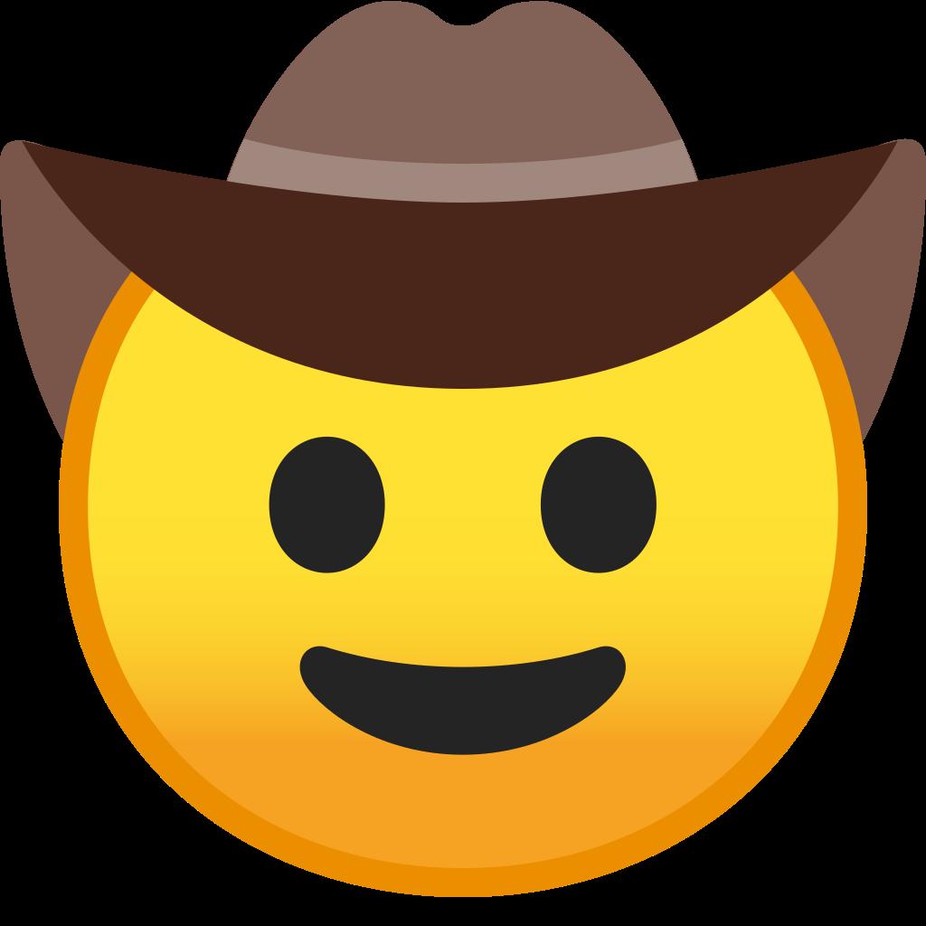 Cowboy hat face icon. Cowgirl clipart emoji