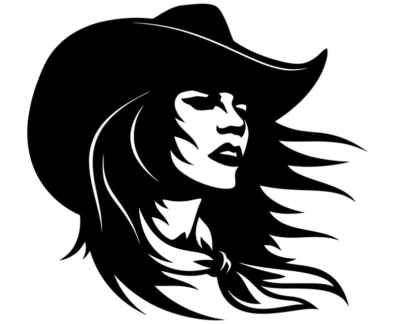 Country girl western face. Cowgirl clipart head