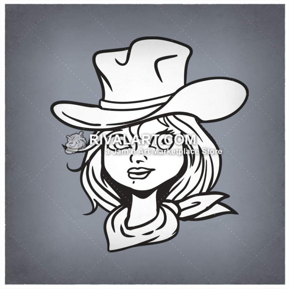 Cowgirl clipart head. Ar rq