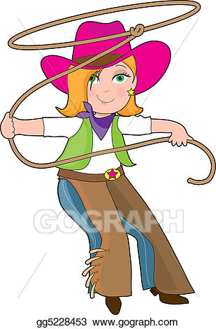 Cowgirl clipart lasso. Stock illustration drawing gg