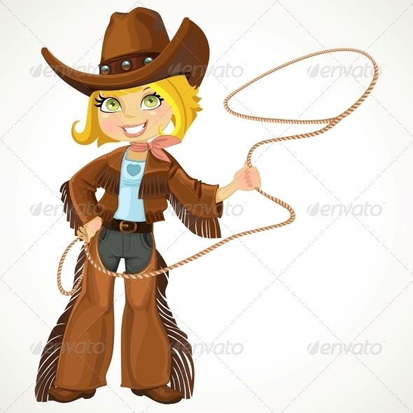 Blond with crafts in. Cowgirl clipart lasso
