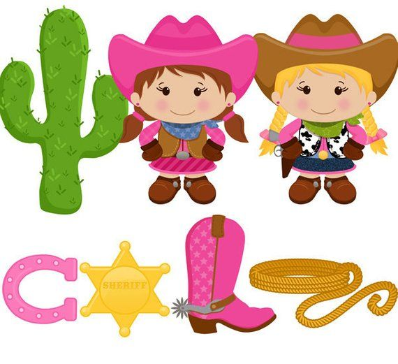 Little digital clip art. Cowgirl clipart lil