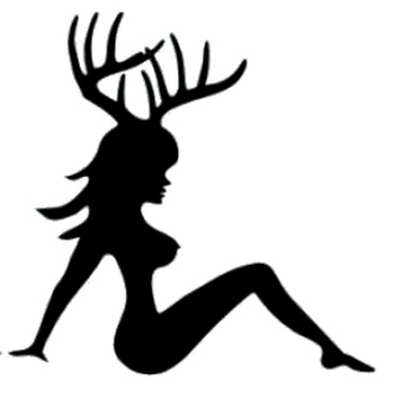Antler decal . Cowgirl clipart mudflap girl