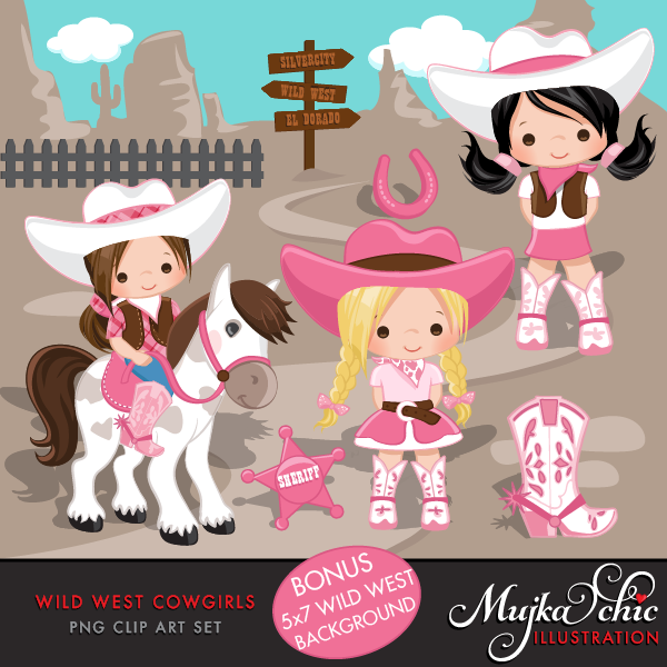 Cowgirl clipart princess. Wild west cute pink