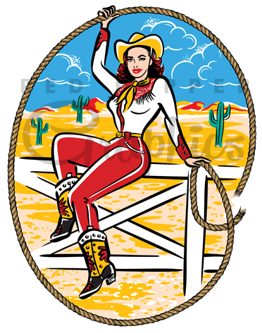 Cowgirl clipart vintage. Station