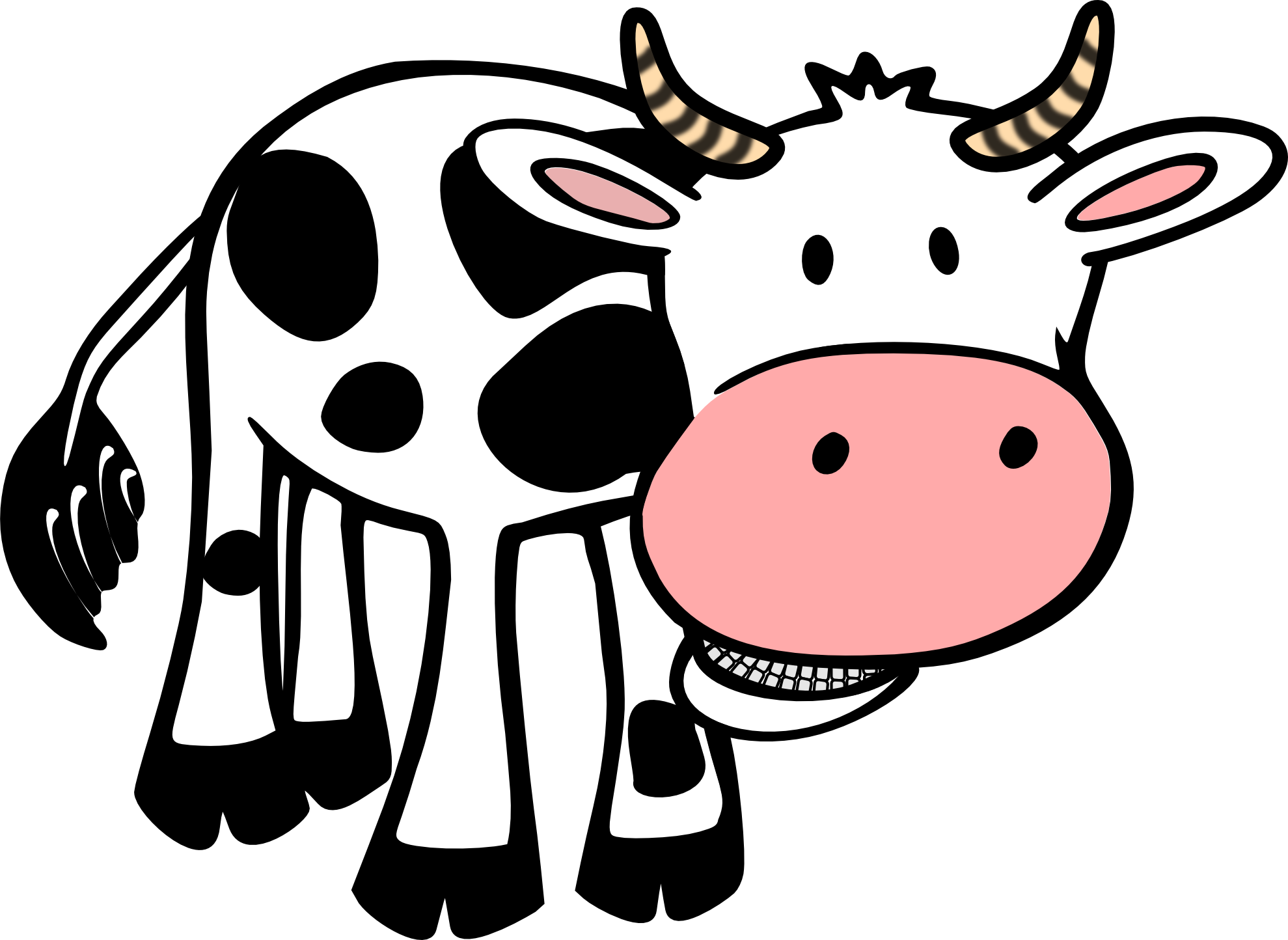 Black and white panda. Goat clipart beef cow