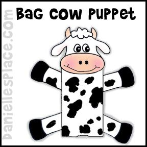 Cows clipart craft. Paper bag cow puppet