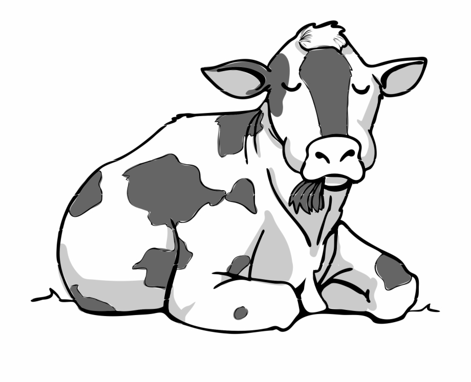 Cows clipart file. Cow sitting black and