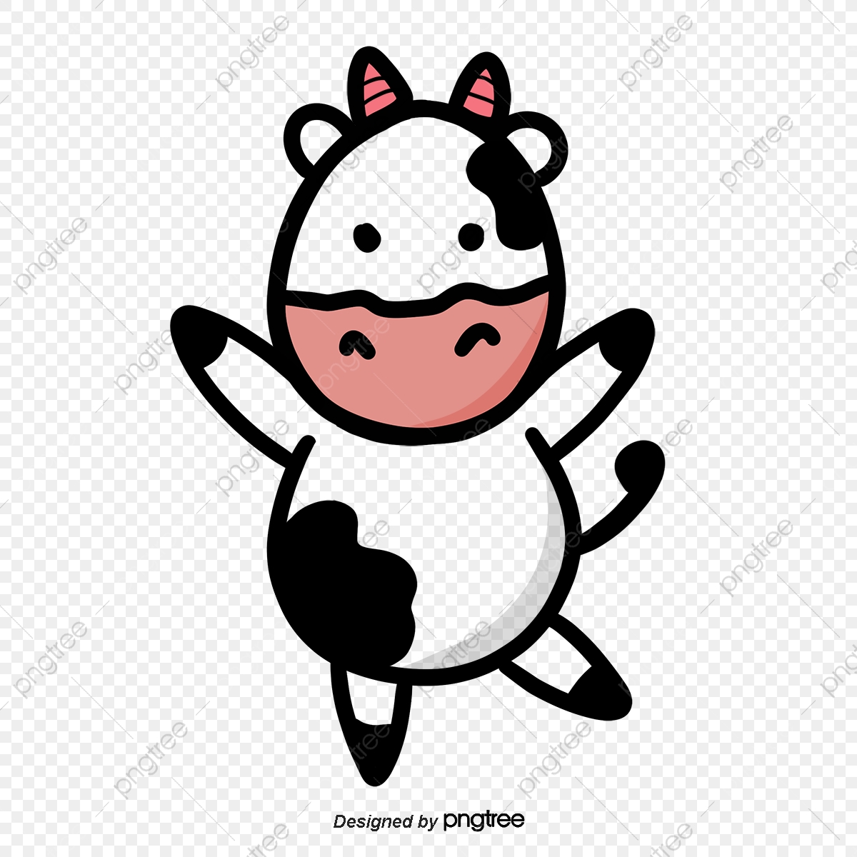 Cows clipart simple. Black white and pink