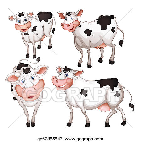 Cows clipart vector. Stock four illustration gg