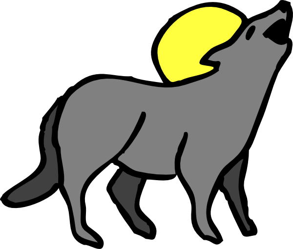 Howling clip art vector. Coyote clipart