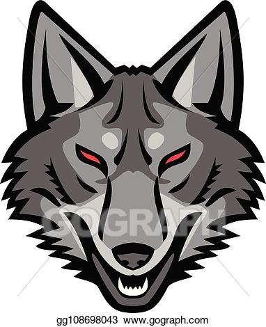 Vector grey head front. Coyote clipart angry