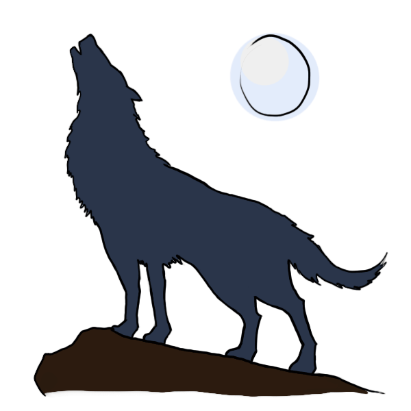 Silhouette howling at getdrawings. Wolf clipart hill