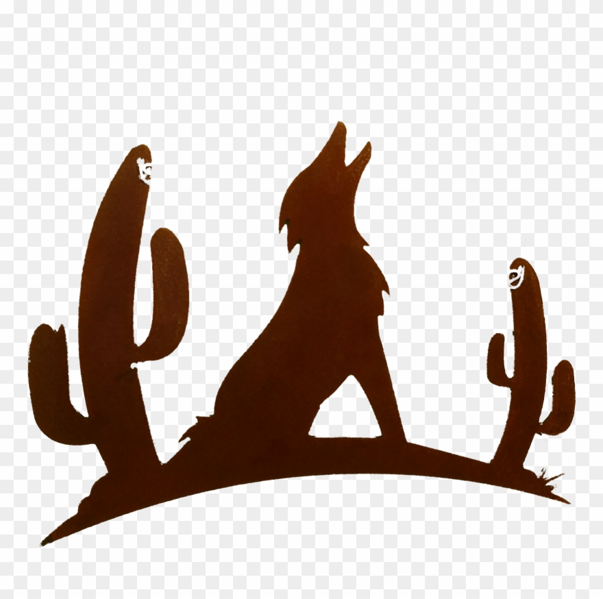 Howling with cactus larger. Coyote clipart cute