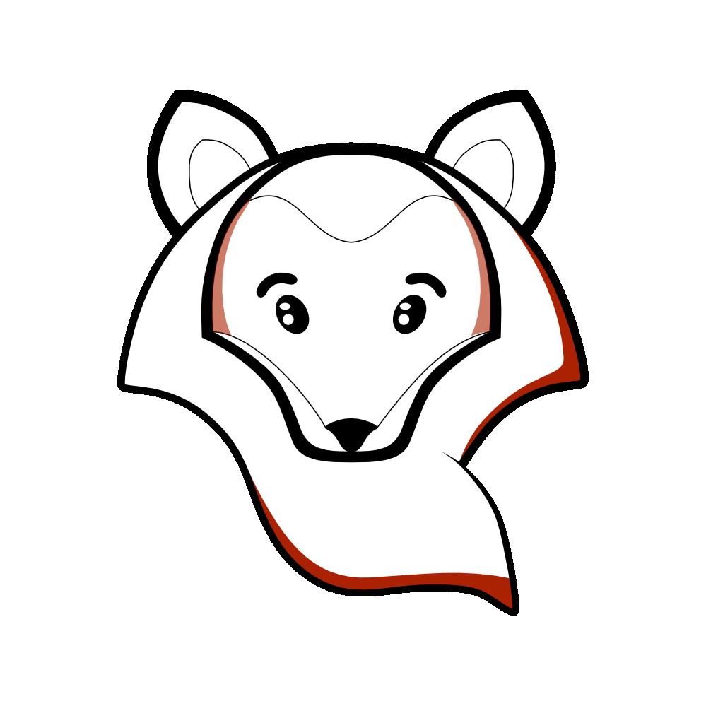 Woodland clipart black and white. Fox head panda free