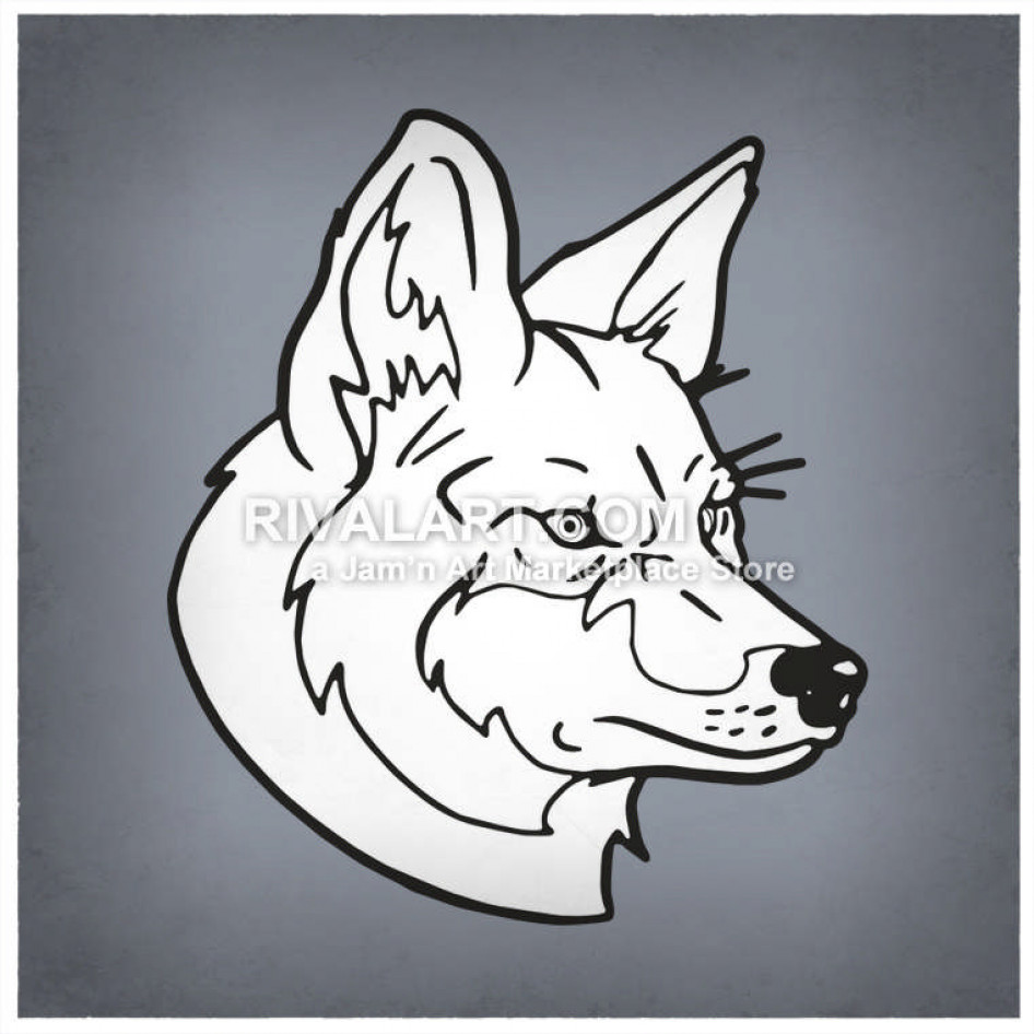 Coyote clipart head. In black and white