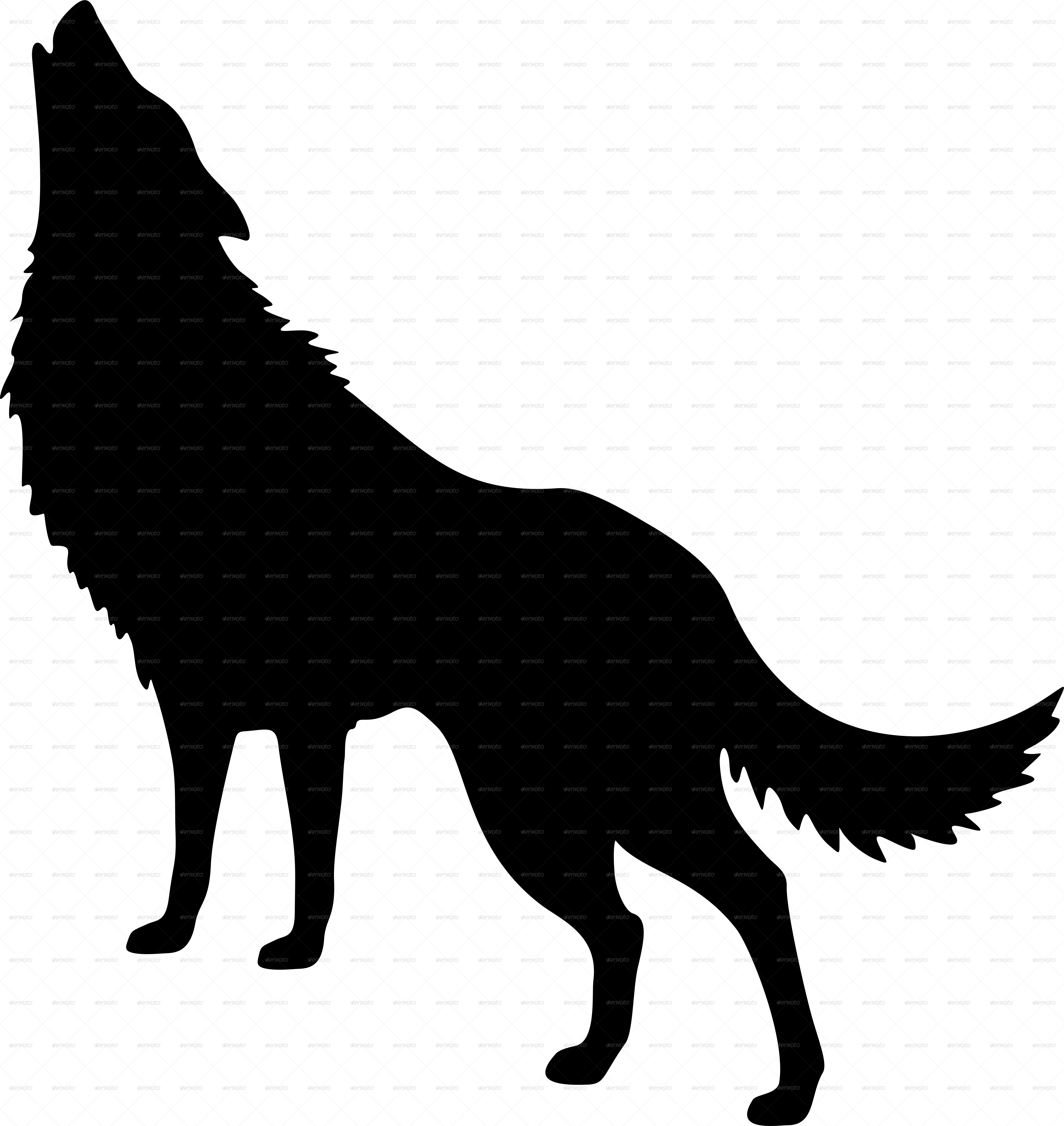 Howling at moon silhouette. Wolf clipart mountain