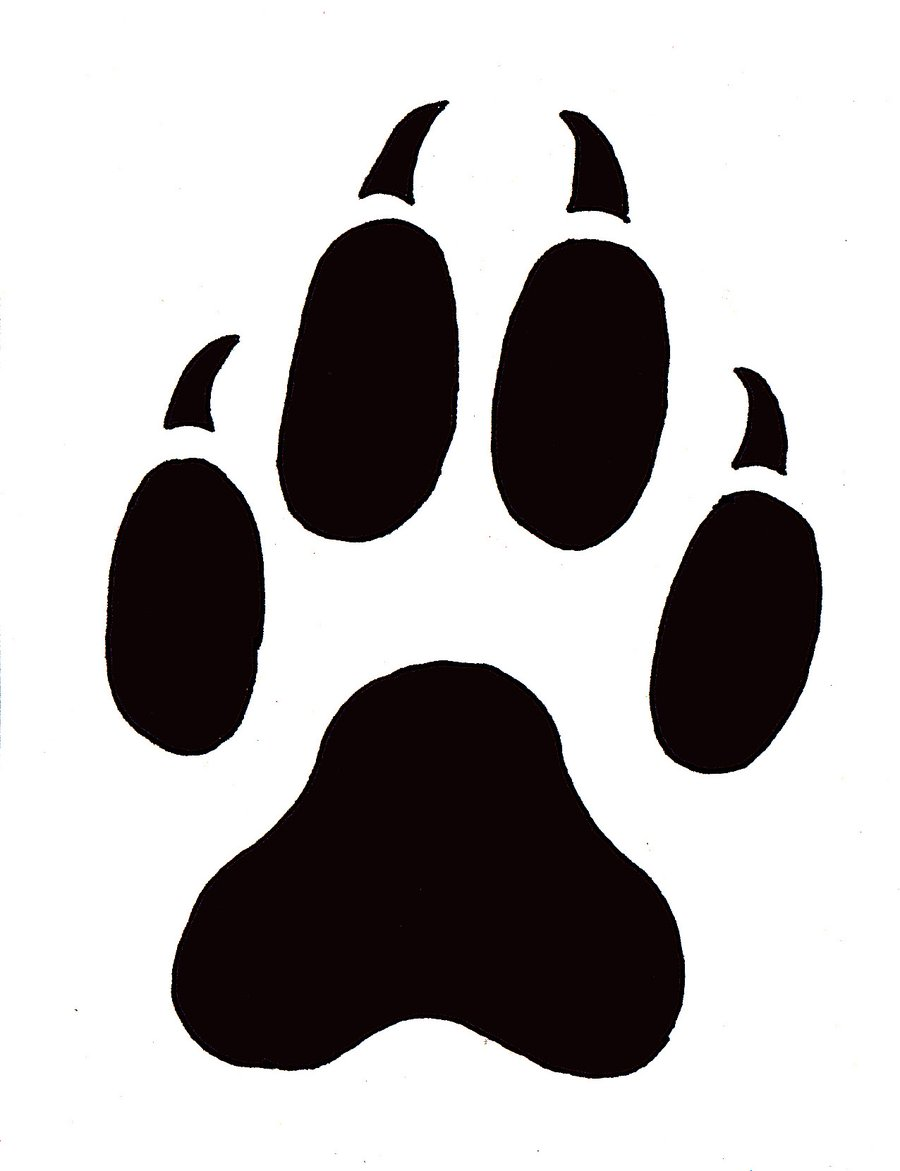 Silhoutte of the paw. Paws clipart coyotes