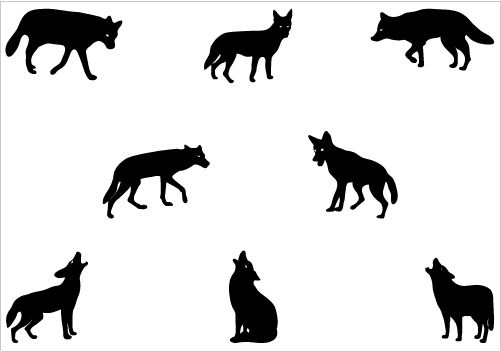 Silhouette graphics pack clip. Coyote clipart vector