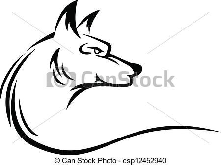 Coyotes tattoo clip art. Coyote clipart vector