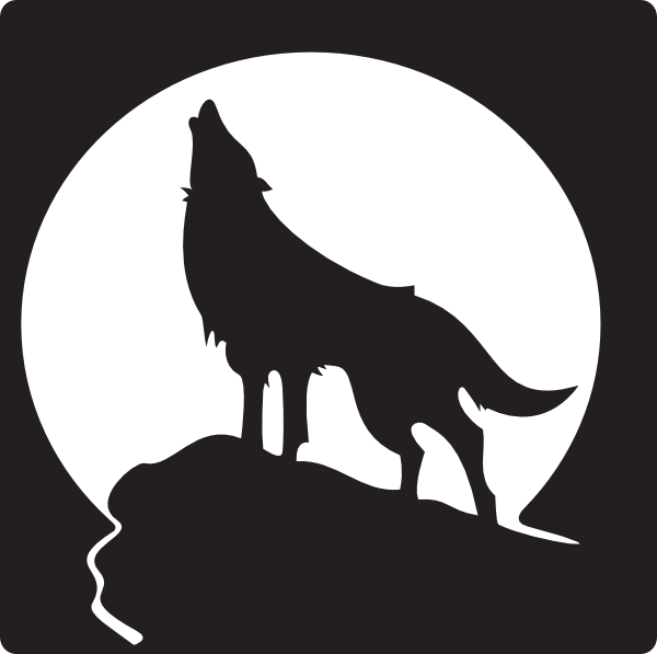 Wolf clipart boho. Coyote howling moon free