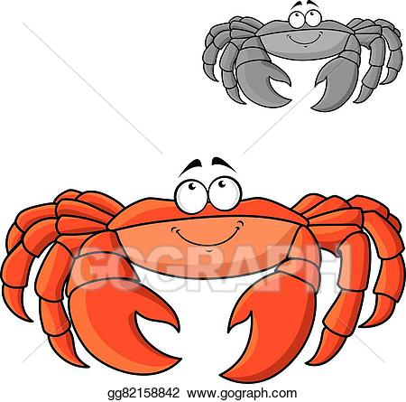 Vector illustration cartoon smiling. Seafood clipart crab leg