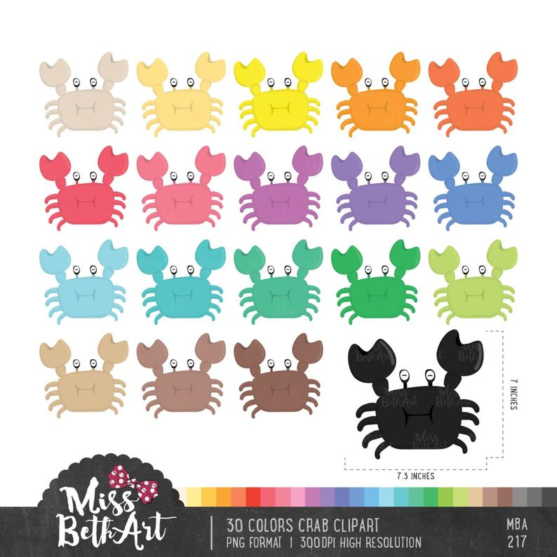 Crab clipart colored.  color instant download
